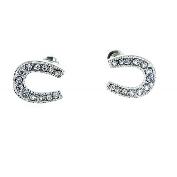 Silver Horseshoe Stud Earrings - Nickel Free Fashion Earring Set for Women / Teens / Moms / Girls / Horse Lovers - C011ORL2MID