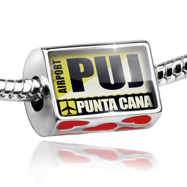 Bead with Hearts Airportcode PUJ Punta Cana - Charm Fit All European Bracelets- - C411HA2269F