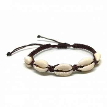 Cowrie Hawaiian Natural Shell Bead Bracelet Genuine Leather Stretch Chip Reggae Jamaican for Women - CN183YICUWQ