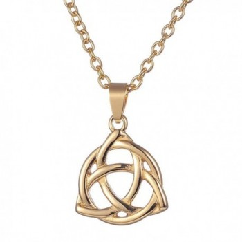 ALoveSoul Stainless Steel Irish Celtic Triquetra Trinity Knot Lucky Pendant Necklace - Gold - C0189T725LS
