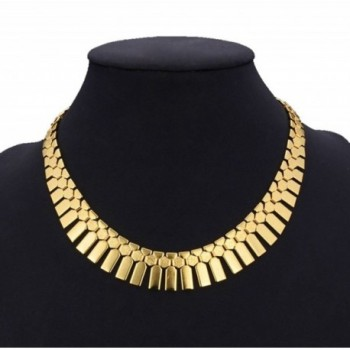 Women's Bib Necklace Choker Statement Necklace 18K Real Chunky Gold Platinum Plated Jewelry Chain Pendants 46CM - CZ125HZM8IB
