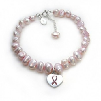 "Sterling Silver Pink Ribbon Heart Charm Cultured Pearl Bracelet- Adjustable 7.5"" - 8.5"" - C811FW5ZYOH"