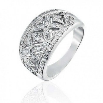 Bling Jewelry Pave CZ Vintage Style Hugs and Kisses Band Sterling Silver Ring - CO11C14VKL3