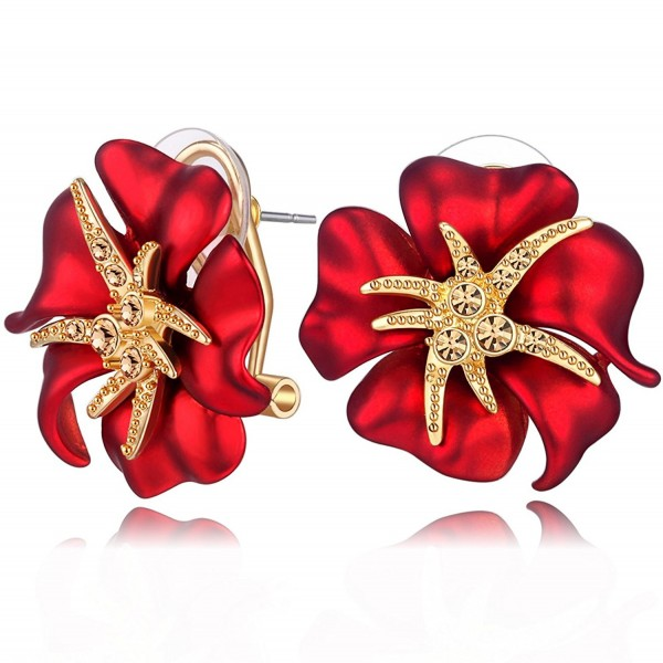 Carfeny Gold Plated Big Rose Flower Stud Earrings for Women and Girls Pierced Earrings Fashion Jewelry - Red - CW184WQM027
