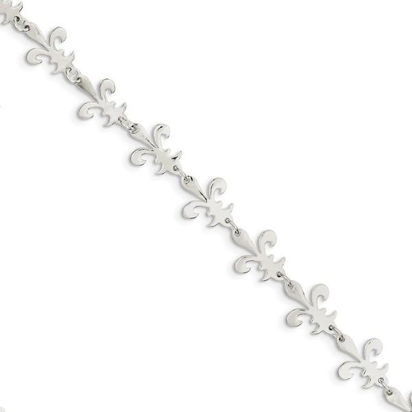 Sterling Silver 7.5in Polished Fleur De Lis Bracelet - CR119CD4PGD
