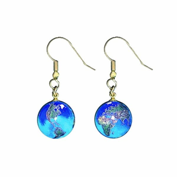 Earrings- Blue Earth Marbles- Natural Earth Continents- Gold Plated Stainless Steel- Half Inch Diameter Globes - CU111B1PP3L