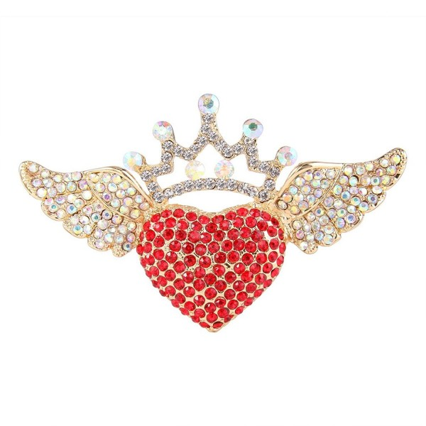 EVER FAITH Austrian Crystal Romantic Love Heart Angel Wing Crown Brooch - Red Gold-Tone - CR11BGDM3QV
