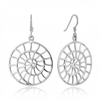 "925 Sterling Silve Open Filigree Detailed Spiral Big Sea Shell Shape Round Dangle Hook Earrings 1.7"" - CS12I6MS5FR"