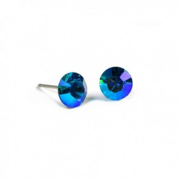 Aurore Borale and Aqua Diamond Cut Finest Austrian Crystal Stud Earrings- 7mm - CB1166IIJ9V