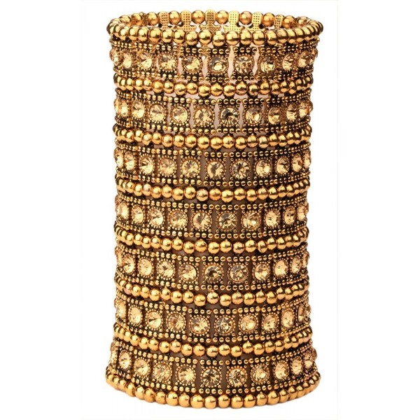 YACQ Jewelry Women's Multilayer Crystal Wide Stretch Cuff Bracelet 7 Row - Gold - C512GDVY75P