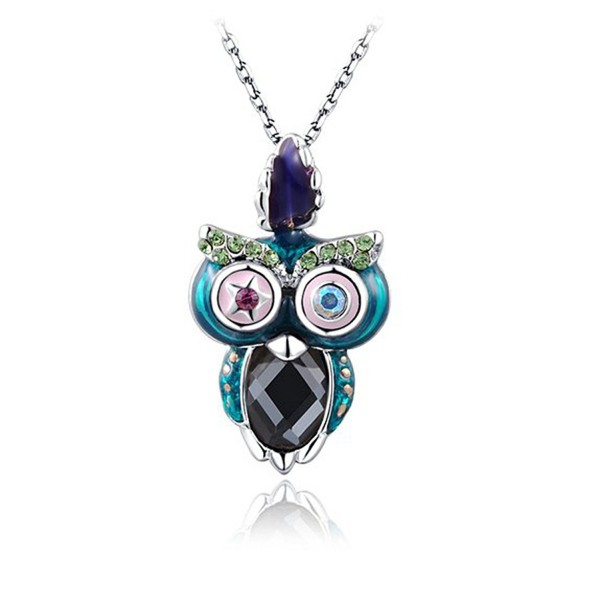 Your Night Daemon Owl Pendant Necklace With AAAA Austrian Crystal And Water Glass Fashion Jewelry - Silver - CF189SUYN4O