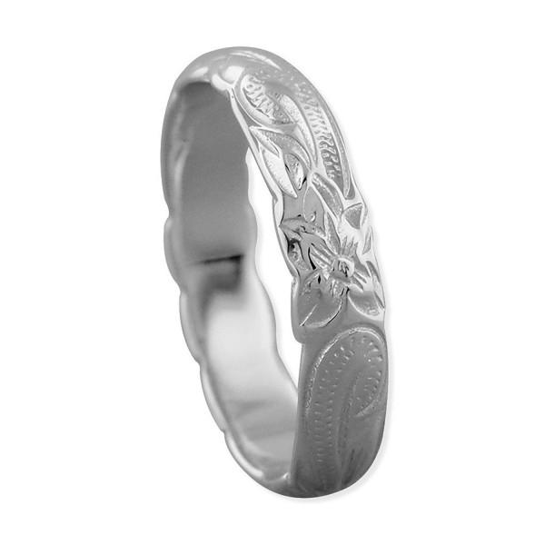 Sterling Silver Hawaiian Wedding Band Ring 4mm Size 10 - CL125WSXGBL