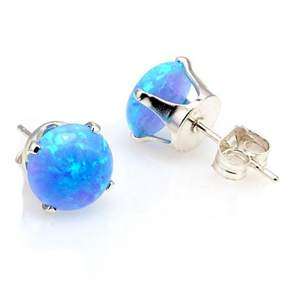 Trustmark 925 Sterling Silver 6mm Azure Blue Created Opal Crown Set Cab Stud Post Earrings- Sky - CE1197ZMT05