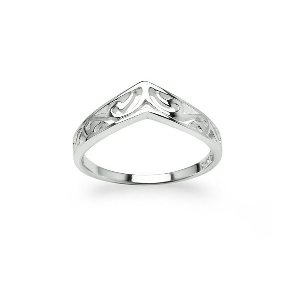 Chevron V-Shaped Filigree Ring New 925 Sterling Silver Band Sizes 5 - CJ12OBGXB5V