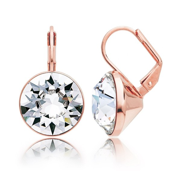 MYJS Bella Statement Earrings Clear Swarovski Crystal Rose Gold Plated - CE12BBWQ9RZ
