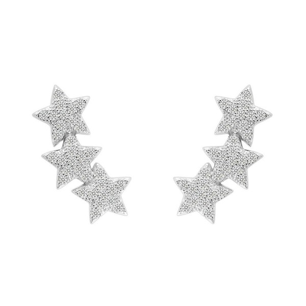 EVER FAITH 925 Sterling Silver Cubic Zirconia Shooting Stars Design Ear Cuff Stud Earrings Clear 1 Pair - C9129RLEZMD