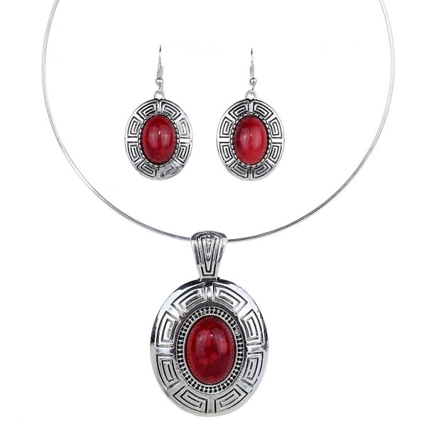 Yazilind Tibetan Silver Ethnic Oval Red Turquoise Pendant Statement Bib Necklace Earrings Jewelry Set - Red - C411LOFATVL