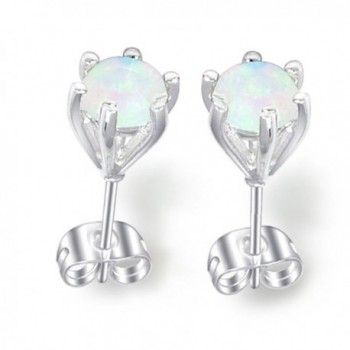 Luckyshine Created Round White Fire Opal Gems Silver Stud Earrings - C812KH0S17N