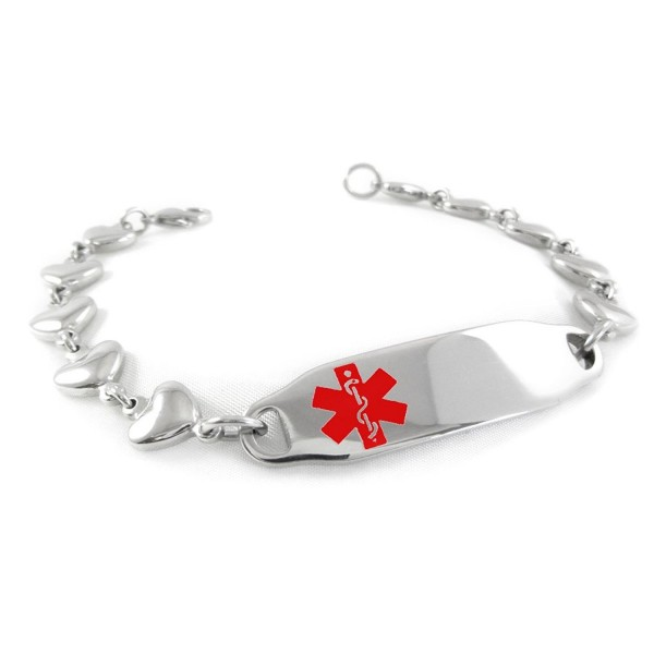 MyIDDr - Pre-Engraved & Customized Blood Thinners Medical Bracelet- Heart Chain - C311BUWYMYJ