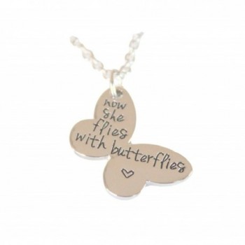 Now She Flies With Butterflies Pendant Necklace Butterfly Shape Memorial Keepsake - C617YH5LMAY