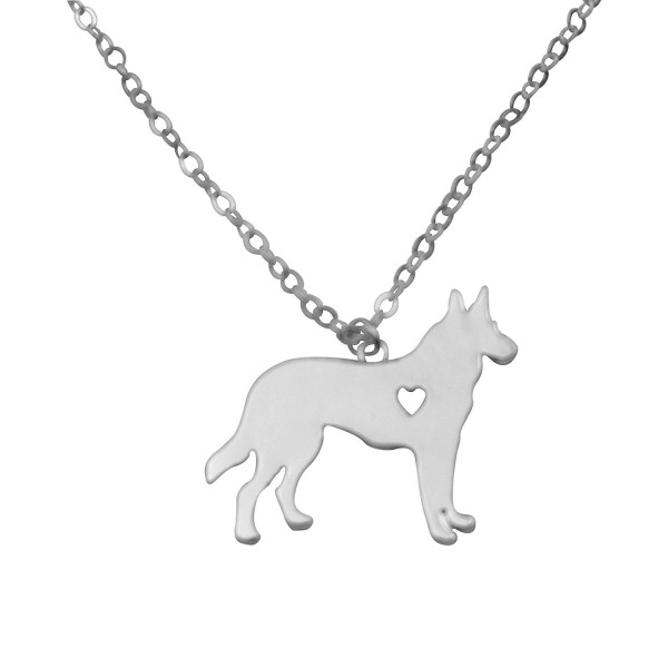 Silvertone I Love My Dog Lover Heart Outline German Shepherd Pet Puppy Rescue Pendant Necklace - CC12GZFINE5