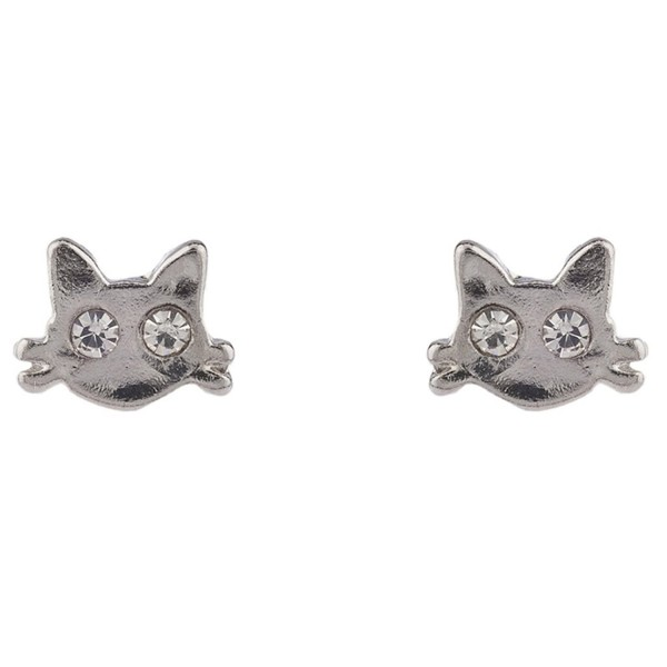 Lux Accessories Silver Tone Kitty Cat Whiskers Crystal Rhinestone Stud Earring - C3183WX7SEG