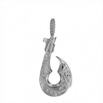 Sterling Silver Hand Engraved Reversible Hawaiian Fish Hook Pendant - CR114JH9H7J