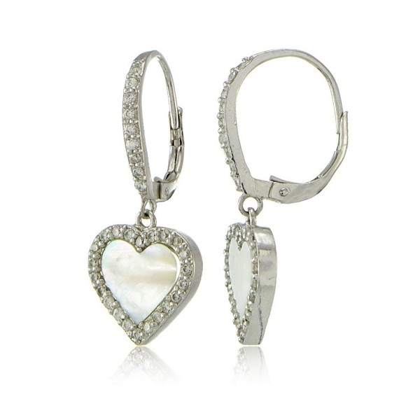 Sterling Silver Mother of Pearl and Cubic Zirconia Heart Dangle Leverback Earrings - CU17Y0AZ0AC