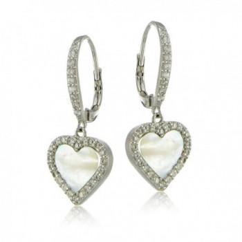 Sterling Silver Zirconia Leverback Earrings