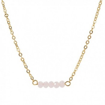 Befettly Mini Gemstone Bar Necklace Delicate Crystal Bead Bar Minimal Delicate Handmade 14k Gold Fill - Pink Opal - CZ186GRC983