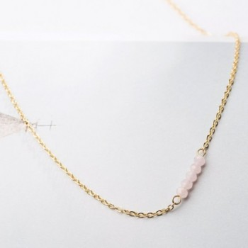 Befettly Gemstone Necklace Chain CK7 Pink Opal in Women's Choker Necklaces