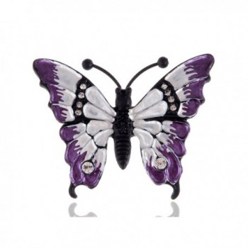 Alilang Multicolored Rhinestone Enamel Paint Butterfly Insect Wings Brooch Pin - Purple - CE1143SR703