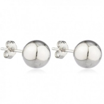 14k Gold Ball Earrings with Matching 14k Pushbacks (FH-DTD7-12EV) - white-gold - CV1266O03LV