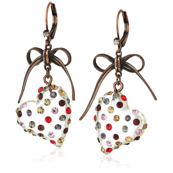"Betsey Johnson ""Confetti"" Mixed Multi-Colored Stone Lucite Heart Drop Earrings - CV12KJTPQHF"