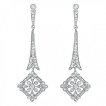 EVER FAITH Wedding Art Deco Royal Gatsby Inspired Chandelier Earrings Pave Zircon Clear Silver-Tone - CM11OVZP29L