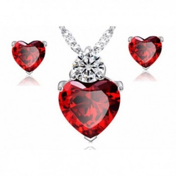 Ruby Heart Earrings and Necklace Jewelry Set - CT12N79V13L