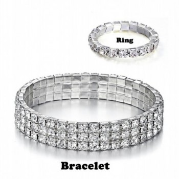 Yumei Jewelry Bracelet Silver tone Sparkling - L:3-Row-Clear-with Ring - C8186OECXWS