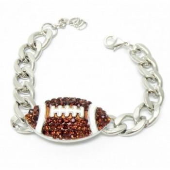 Football Bracelet Chunky Z1 Brown Crystal Silver Tone Sports - C111OMRC94J