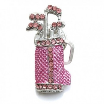 SoulBreezeCollection Golf Club Bag Golfer Brooch Pin Rhinestone Sports Jewelry - Pink - CI119OUNG87