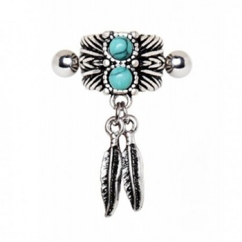 Turquoise & Feather Cartilage Cuff Earring (Sold by Piece) - CE1852TML0K