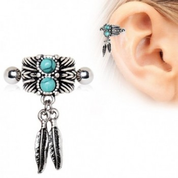 Turquoise Feather Cartilage Earring Piece