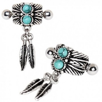 Turquoise Feather Cartilage Earring Piece in Women's Cuffs & Wraps Earrings