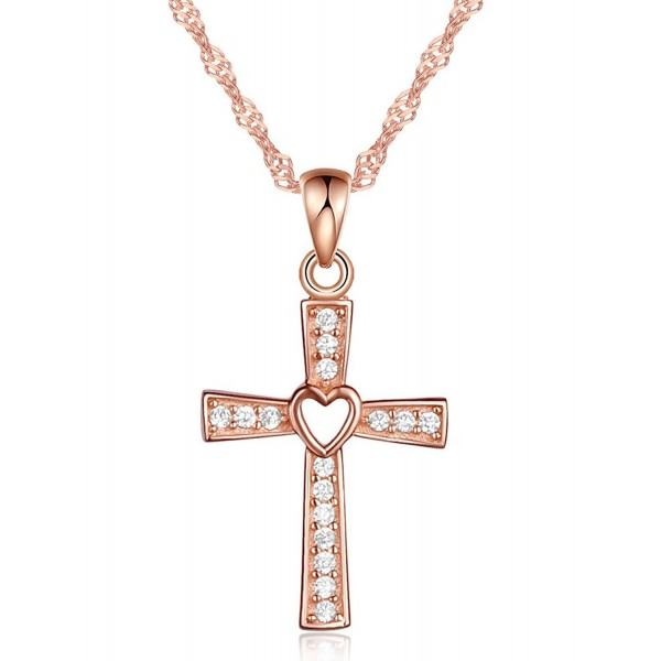 Infinite U Classic Cross Crucifix Pendant Chain Necklace 925 Sterling Silver Cubic Zirconia Christmas Gift - A - CZ12IQYHF4H