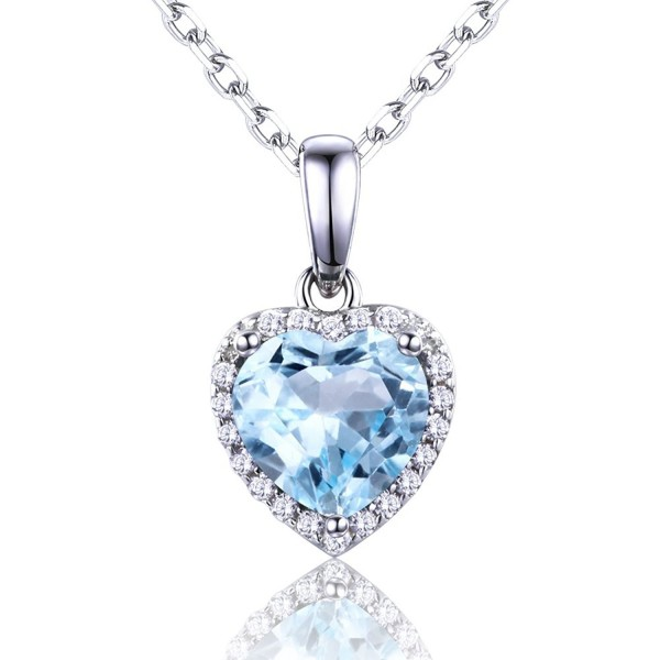 Genuine Natural Sterling Necklace Birthstone - Swiss Blue Topaz - CS185QQ9IDY