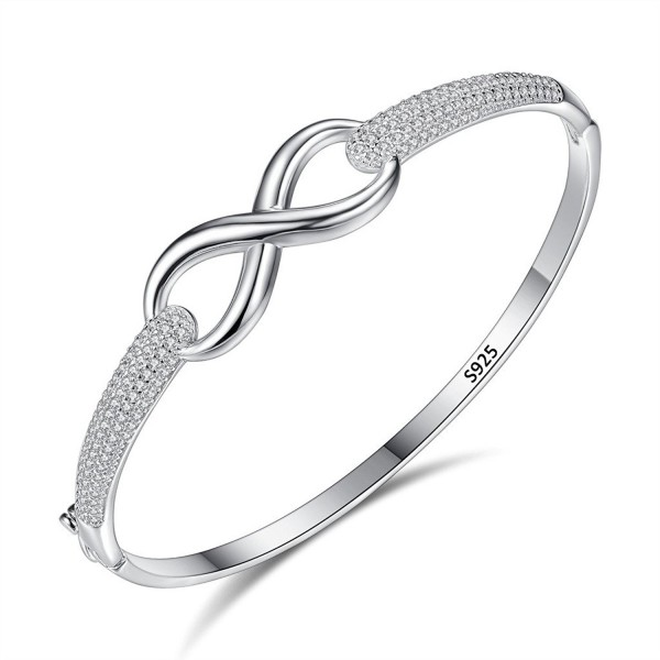 EleQueen 925 Sterling Silver Cubic Zirconia Hollow Filigree Infinity Figure 8 Bridal Bangle Bracelet Clear - C1182L9K58S