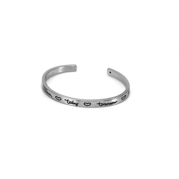 Silver Tone Friends Forever Today Tomorrow Always Inspirational Cuff Bracelet - CJ1292NG37L