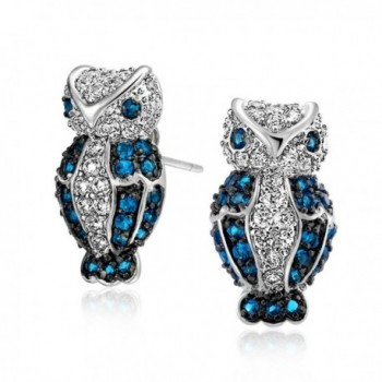 Bling Jewelry Simulated Sapphire CZ Owl Pave Stud Earrings Rhodium Plated - CW119T7B9VB