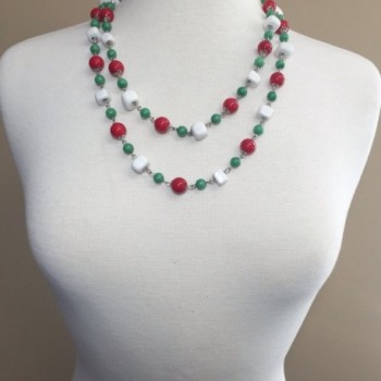 Multi Color Beaded Necklace Green in Women's Strand Necklaces