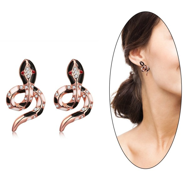 Eternity J. Cute 18K Rose Gold Plated Color Czech Drill Owl Snake Earrings Fancy Stud Earrings - Rose Gold Snake - C51887UNTGC