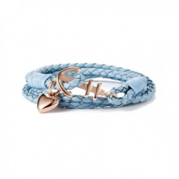VICTORIA HYDE Womens Mens Anchor Heart Love Bracelet Nautical Marine Braid Wrap Weave Knit Leather - Light Blue - C3188Q8C6X6